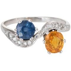 Natural Sapphire Diamond Bypass Ring Vintage 18 Karat White Gold
