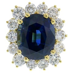 Natural Sapphire Diamond Gold Ring, 15.02 Carat No Treatment Guild Lab Report