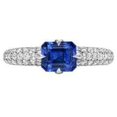 Natural Sapphire Ring Emerald Cut 1.42 Carats AGL Certified Unheated