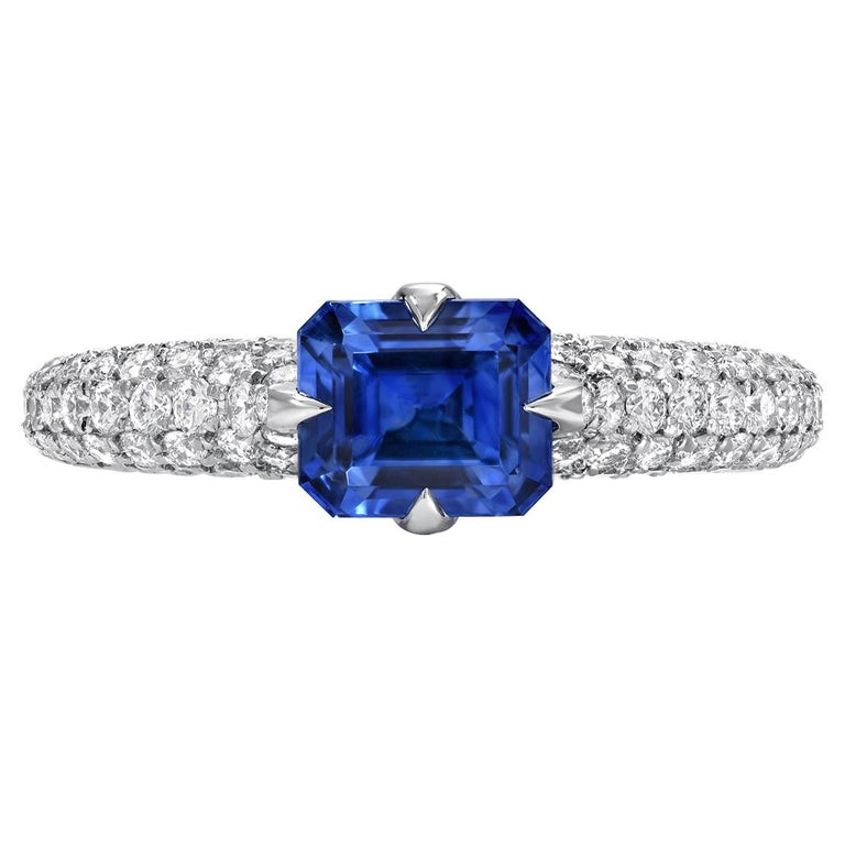 Natural Sapphire Ring Emerald Cut 1.42 Carats AGL Certified Unheated For Sale