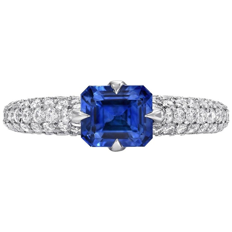 Natural Blue Sapphire Ring Emerald Cut Diamond Platinum 1.42 Carat AGL Certified For Sale