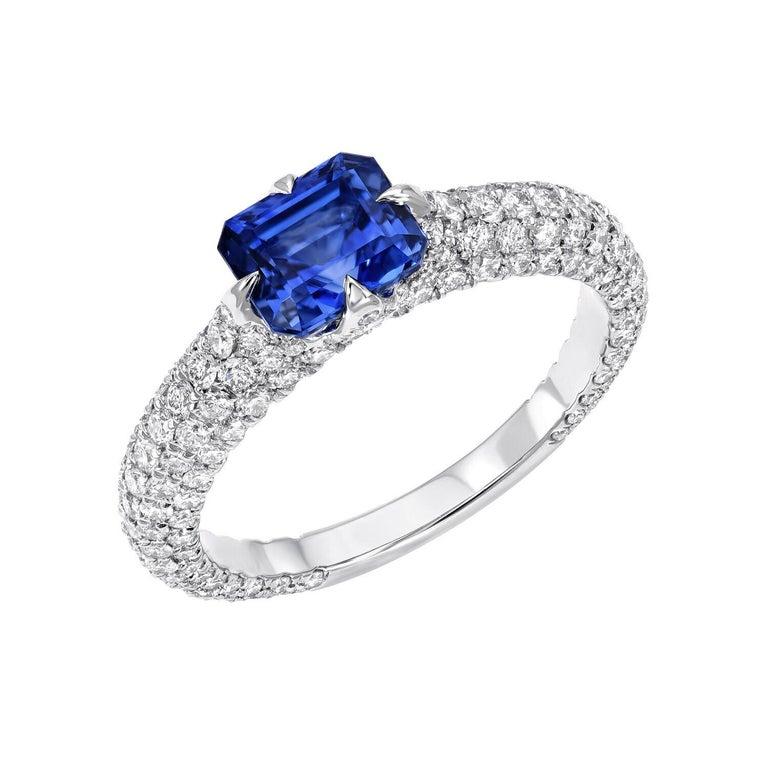Modern Natural Blue Sapphire Ring Emerald Cut Diamond Platinum 1.42 Carat AGL Certified For Sale