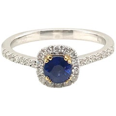 Natural Sapphire with Diamond Halo Ring