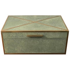 Natural Shagreen Box with Brass Inlay