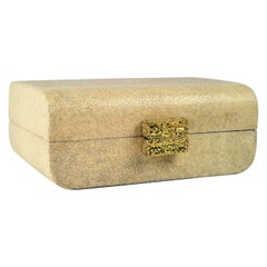 Natural Shagreen Box with Cast Brass Handle by Ginger Brown
