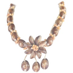 Natural Shell Brown Flower Pendant 925 Sterling Silver Silver Handmade Necklace