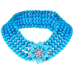 Natural Sleeping Beauty Turquoise Necklace Five-Strand and Diamond French Clasp
