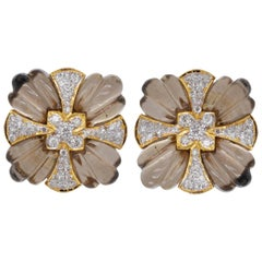 Natural Smoky Quartz Carving with Diamond Studs Earring in 18 Karat Gold