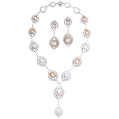 Natural South Pearl and Diamond Necklace with Earrings