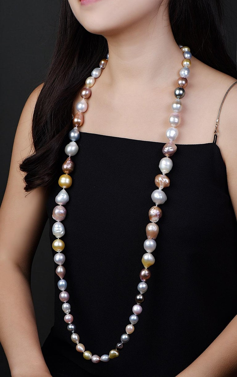 This large sized strand of pearls with sizes from 11.5-20mm in a very unique variation.  All pearls are semi baroque in shape and very evenly matched in their luster, and unique organic shapes. The pearls come from the pearl producing area of Deep