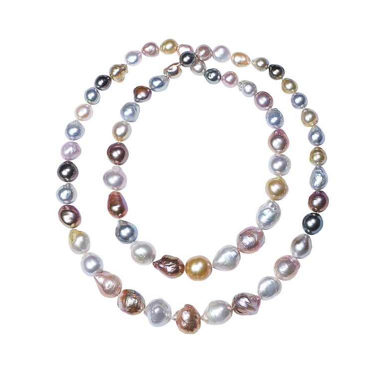 Natural South Sea Multicolored Pearl Necklace For Sale
