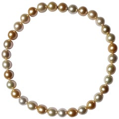 Natural South Sea Pearl Necklace in Shades of Cream and Gold
