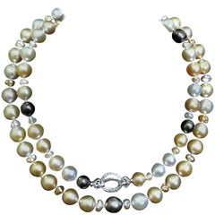 Natural South Sea Pearls Diamond Necklace / Wrap 14 Karat Clasp