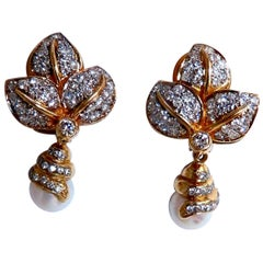 Natural South Seas Pearl Diamonds Dangle Earrings 14 Karat Gold