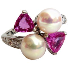 Natural South Seas Pink Sapphire Diamonds Rings