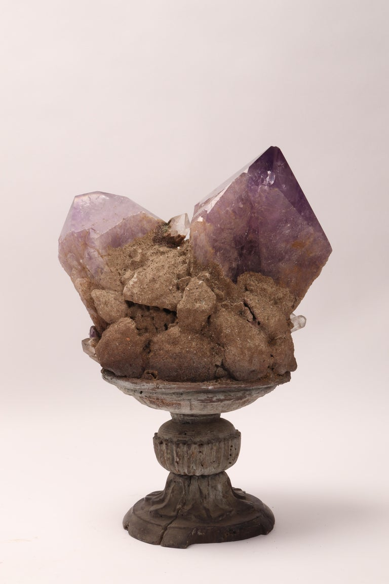 Late 19th Century Natural Specimen a Group of Amethist Crystals, Italy 1880, Specimen For Sale