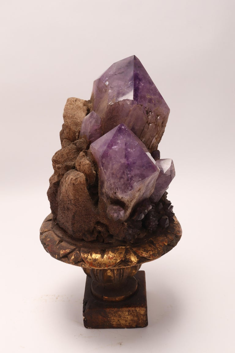 Natural Specimen a Pair of Big Amethyst Crystals, Italy, 1880 For Sale 5