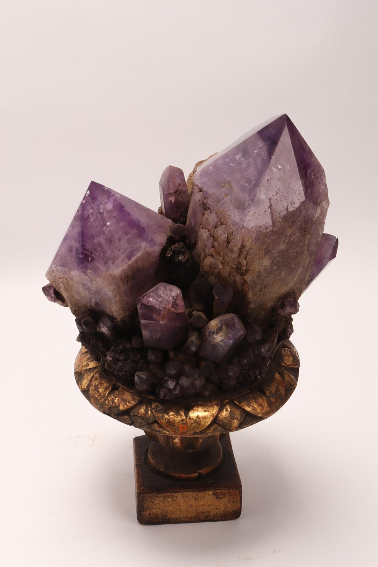 Natural Specimen a Pair of Big Amethyst Crystals, Italy, 1880 For Sale 7