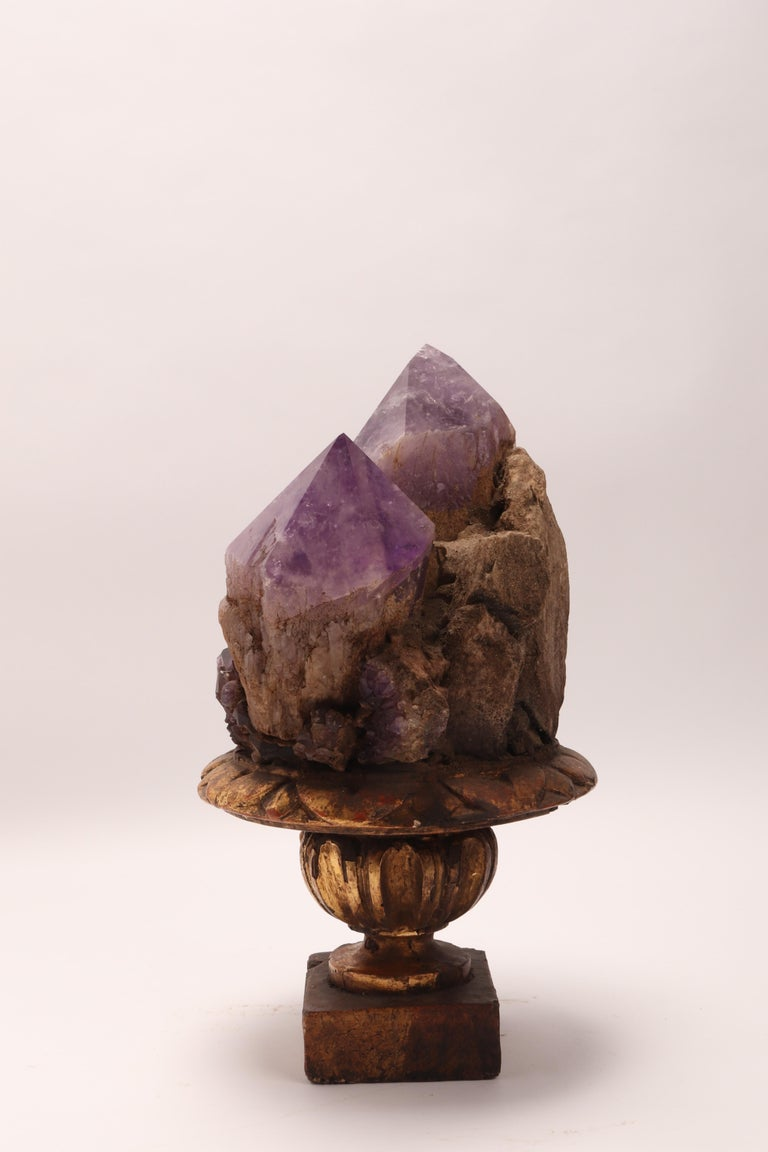 Italian Natural Specimen a Pair of Big Amethyst Crystals, Italy, 1880 For Sale