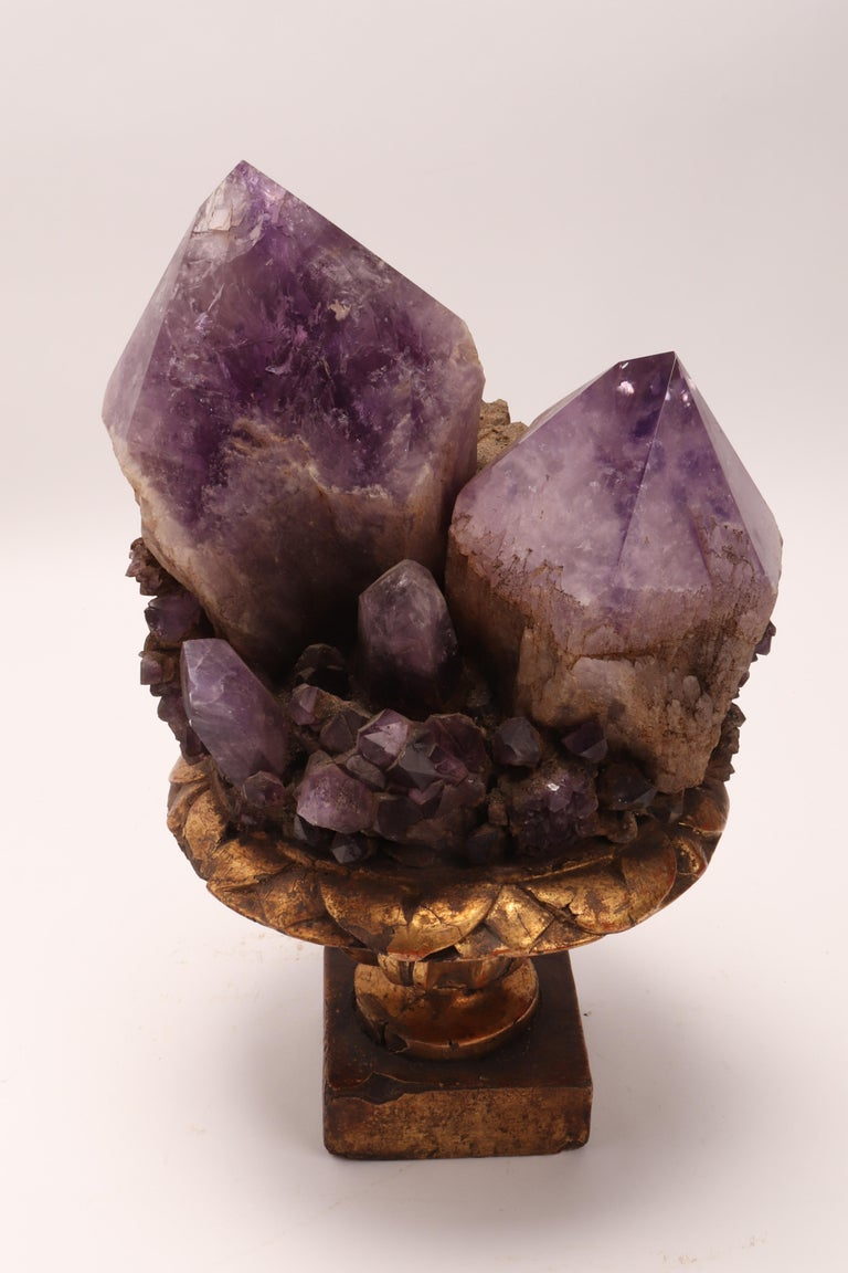 Natural Specimen a Pair of Big Amethyst Crystals, Italy, 1880 For Sale 1