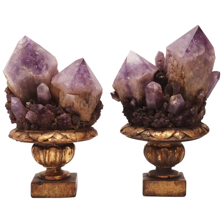 Natural Specimen a Pair of Big Amethyst Crystals, Italy, 1880 For Sale