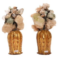 Natural specimen: a pair of Druzes with crystals, Italy 1880.