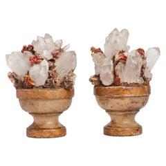 Natural Specimen a Pair of Quartz and Vanadinite Crystals, Italy, 1880