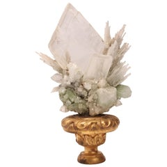 Natural Specimen Apophyllite Quartz and Calcite Flowers Crystals, Italy, 1880
