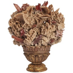 Natural Specimen Desert Rose and Red Crystals, Italy, 1880