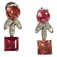 Natural Spinel Earrings Set in 18 Karat Gold with Diamonds