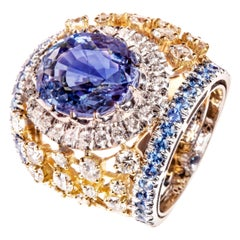 Natural Sri Lanka Sapphire 9.88 Carat Surrounded by 2 Karat of White Diamonds