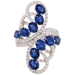 HYT Natural Sri Lankan Blue Sapphire and White Diamond Ring in 18K White Gold