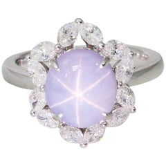 Natural Star Sapphire 3.48 Carat and Diamond Cocktail Ring, Strong Star