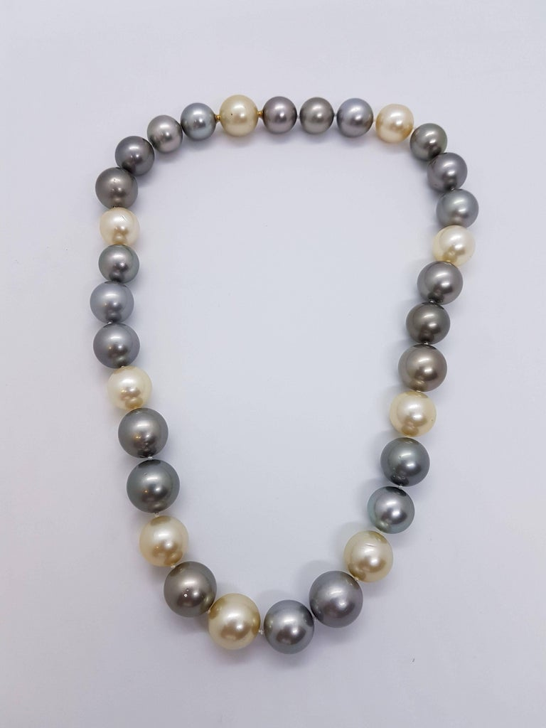 Contemporary Natural Tahiti and South Sea Pearl Necklace For Sale