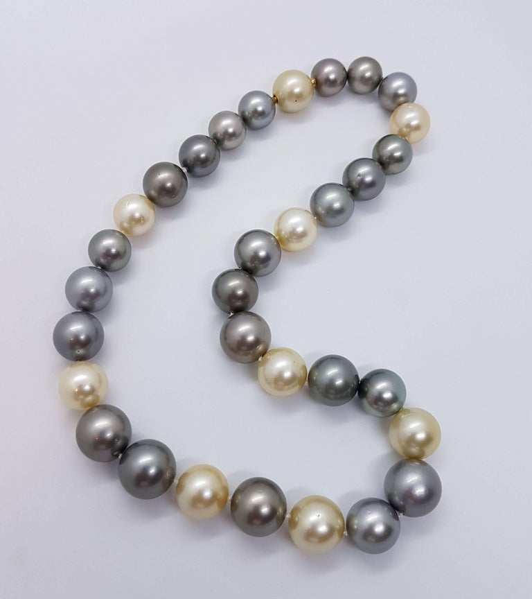 Women's Natural Tahiti and South Sea Pearl Necklace For Sale