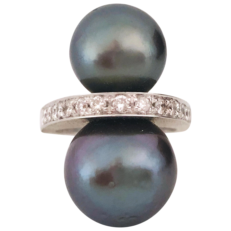 Berca Tahitian Black Pearl White Diamond Contemporary Toi et Moi Cocktail Ring