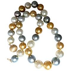 Natural Tahitian Multi-Color Peacock Pearls Necklace 14 Karat