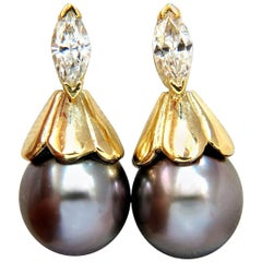 Natural Tahitian Pearl and 80 Carat Diamonds Drop Cap Earrings 14 Karat