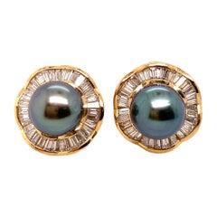 Natural Tahitian Pearl and Baguette Diamond Earrings