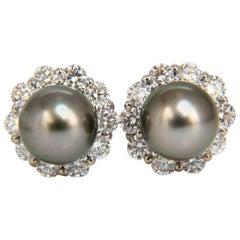 Natural Tahitian Pearls 1.80 Carat Diamonds Cluster Earrings 14 Karat g/vs