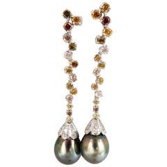 Natural Tahitian Pearls Dangle Color Diamond Earrings 14 Karat