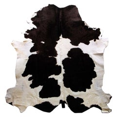 Natural Tanner Black and White Colored Leather Rug