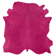 Natural Tanner Fuchsia Colored Leather Rug