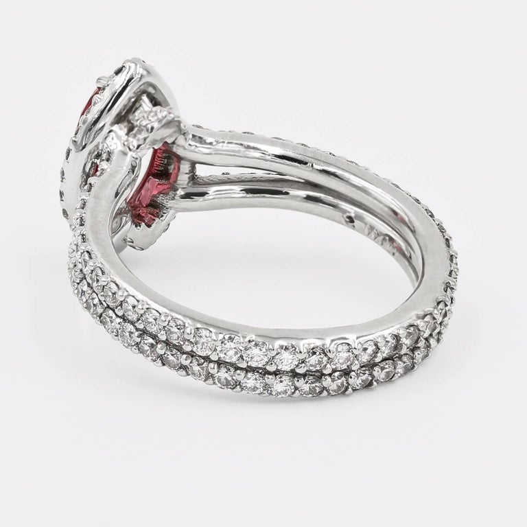 Marquise Cut Natural Tanzanian 1.22 Carats Oval Pink Spinel and Diamond Ring