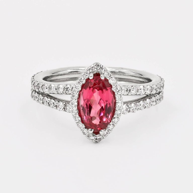 Women's Natural Tanzanian 1.22 Carats Oval Pink Spinel and Diamond Ring
