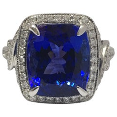 Natural Tanzanite and Diamond Ring