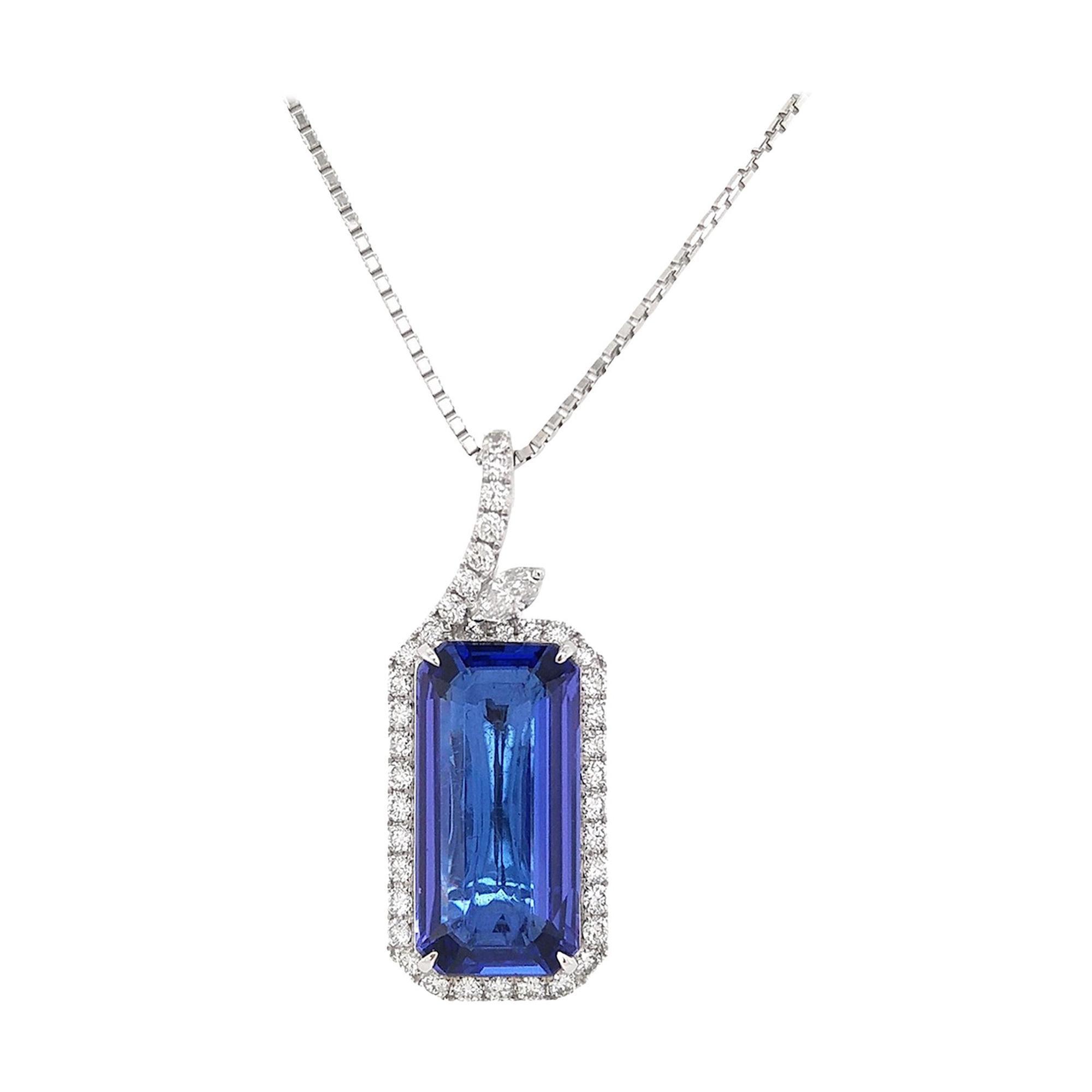 Natural Tanzanite and White Diamond in Platinum Pendant with Chain