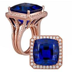 Natural Tanzanite Cushion Cut in 18 Karat Rose Gold Diamond Custom Ring Mounting