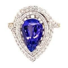 Natural Tanzanite Diamond Ring 14k Gold 4.54 TCW GIA Certified