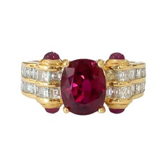 Natural Thai Ruby Oval and Cabochon Square Diamond Handmade Ring 18k 2.64 Carat